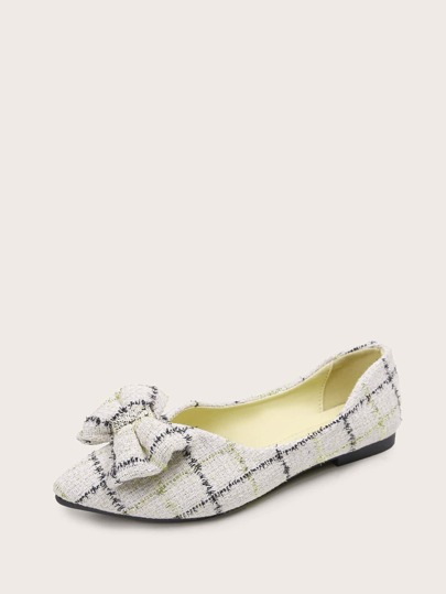 Bow Decor Plaid Pattern Flats
