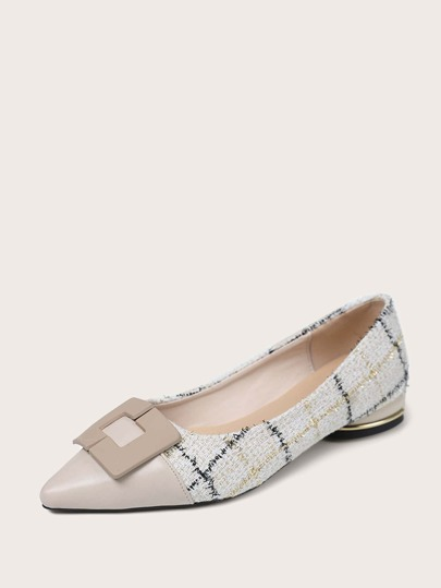 Cap Toe Plaid Pattern Flats