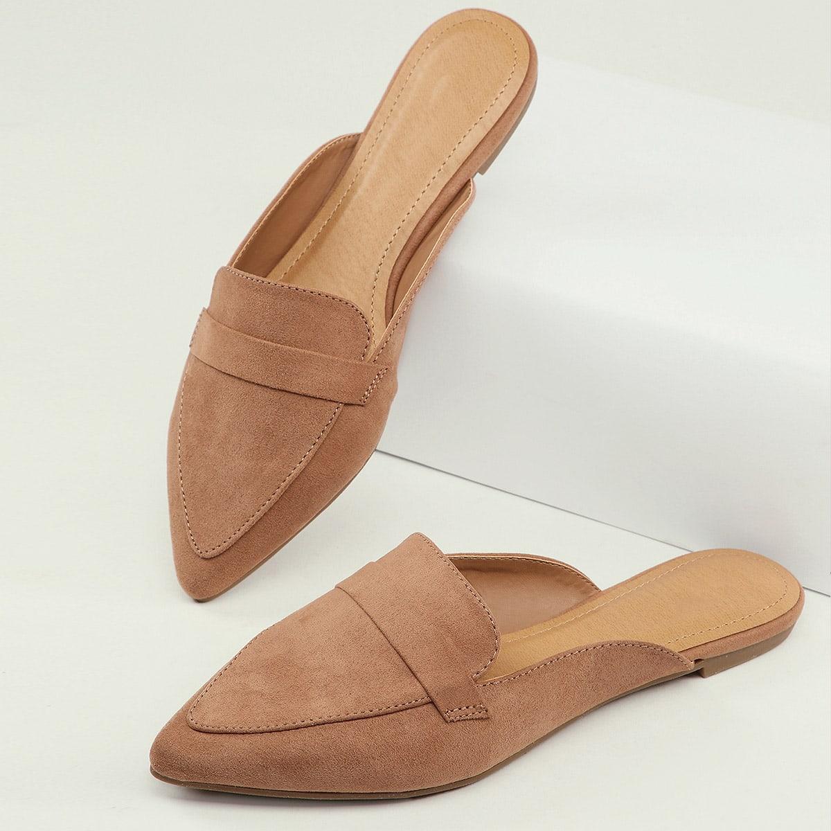 shein scarpe da muli mocassini a punta piatte donna