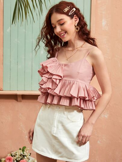 Layered Ruffle Pleated Cami Top