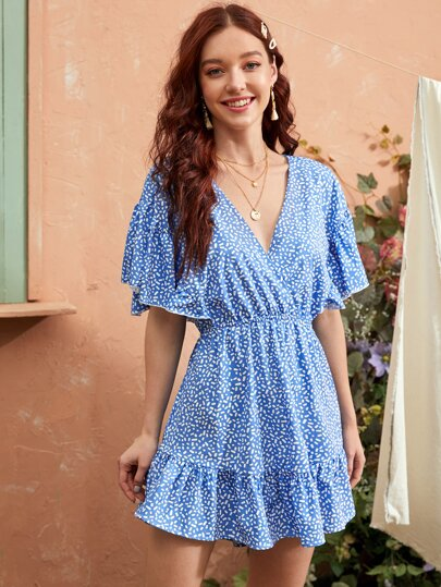 Dalmatian Surplice Neck Ruffle Hem A-line Dress