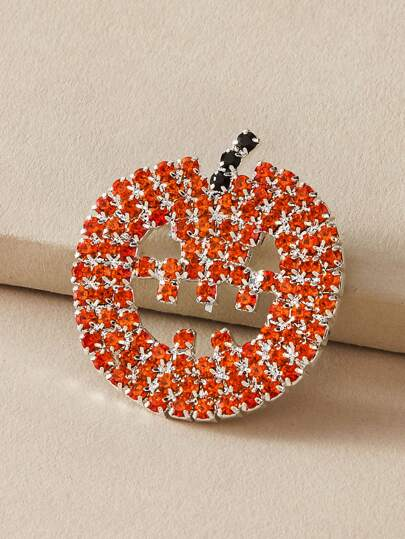 1pc Rhinestone Engraved Pumpkin Design Brooch