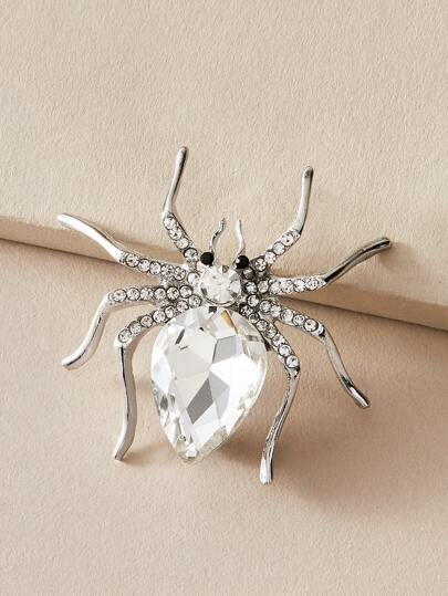 1pc Rhinestone Engraved Spider Design Brooch