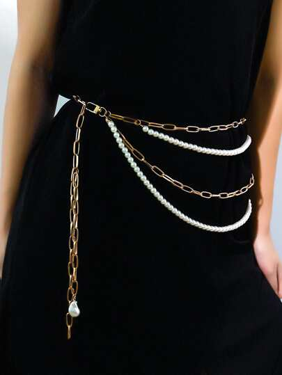 Faux Pearl Beaded Layered Waist Chain Belt