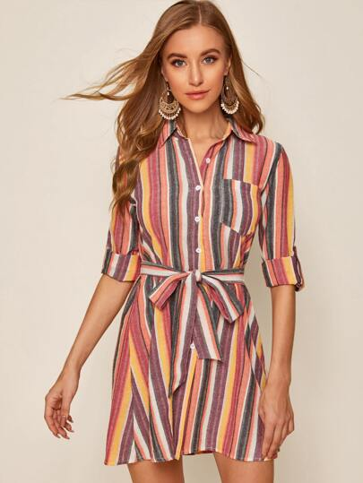 Striped Self Tie Button Front Shirt Dress