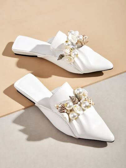 Faux Pearl Decor Point Toe Flat Mules