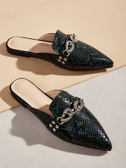 Metal Decor Snakeskin Pattern Flat Mules