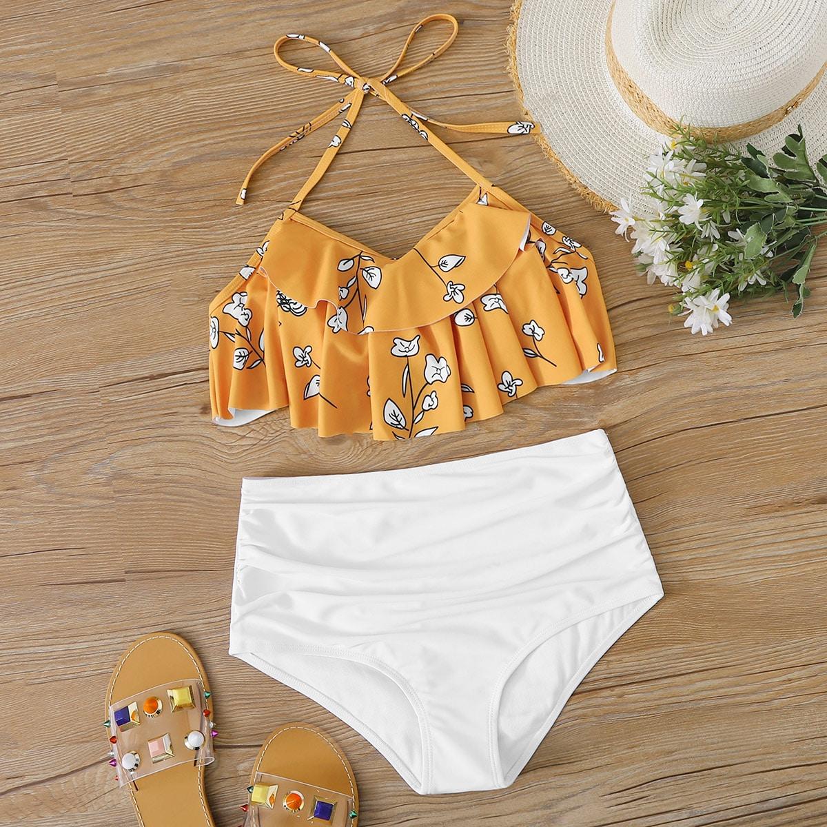 Bikini mit Blumen Muster, Raffung und hoher Taille