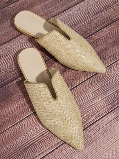 Braided Point Toe Flat Mules