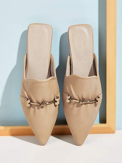 Metal Decor Point Toe Flat Mules