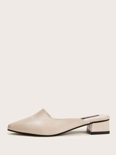 Point Toe Block Heeled Mules