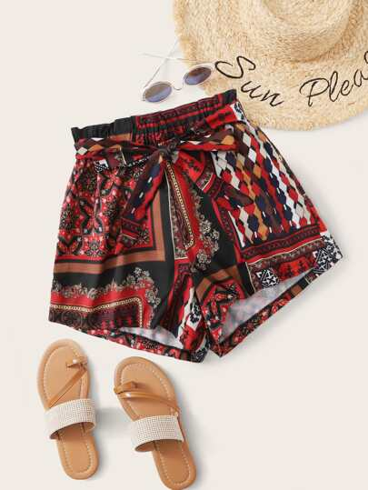 Tribal Print Belted Shorts