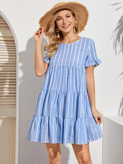 Ruffle Hem Striped Smock Dress