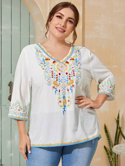 Plus Floral And Tribal Embroidered Blouse