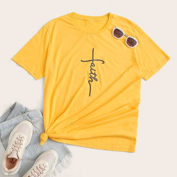 Plus Letter Graphic Short Sleeve Tee, Yellow