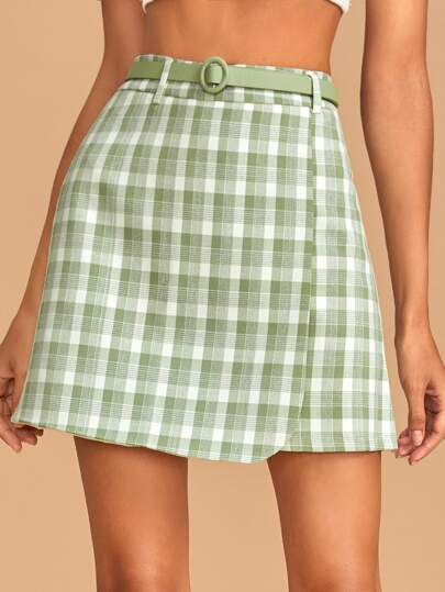 Plaid Belted Wrap Hem Mini Skirt