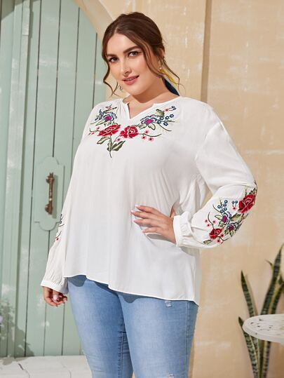 Plus Floral Embroidery Notched Neck Blouse