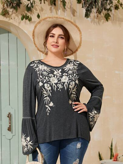 Plus Floral Embroidered Flounce Sleeve Blouse