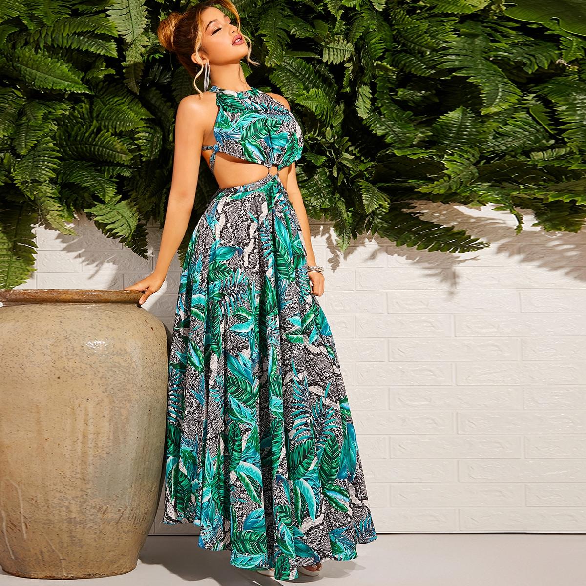 Змеиное и тропическое платье с открытой спиной