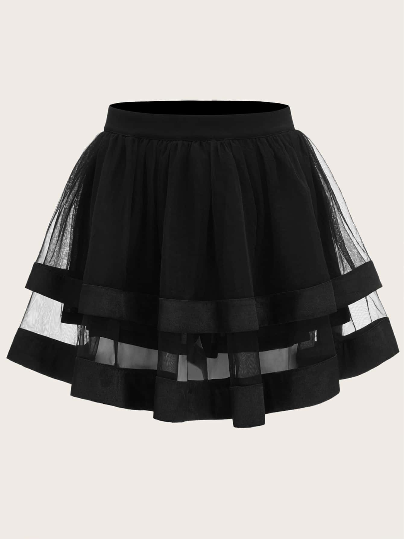 Satin Trim Layered Organza Skirt thumbnail
