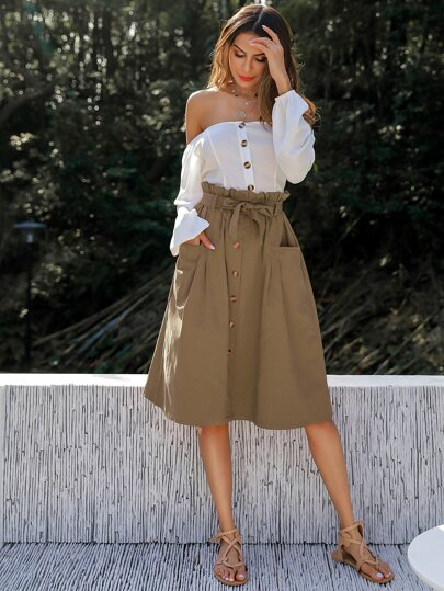 Button Front Paperbag Waist Midi Skirt