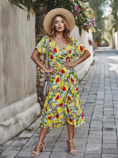 Allover Floral Print Ruffle Hem Wrap Dress