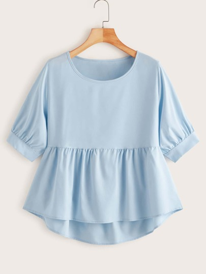 Solid High Low Babydoll Blouse