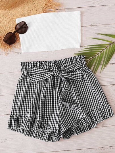 Solid Knit Top With Gingham Print Shorts