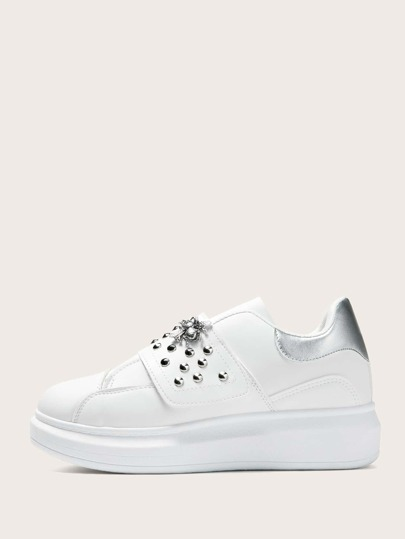 Bee & Studded Decor Velcro Strap Sneakers
