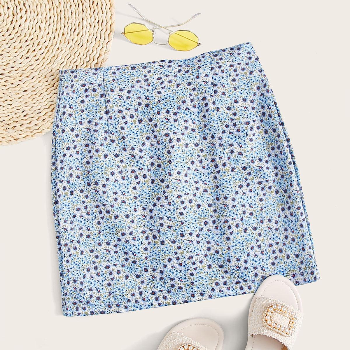 Цветочная мини юбка с молнией сзади