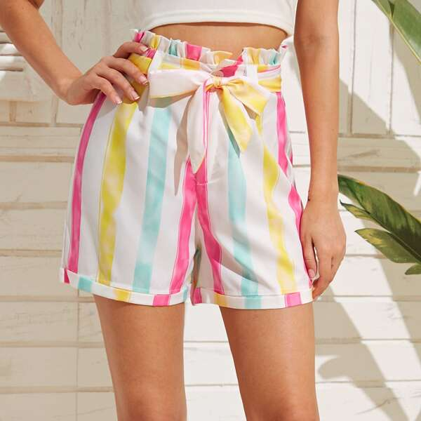 Striped Paperbag Waist Belted Shorts, Multicolor