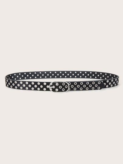 Eyelet Decor Metal Buckle Belt