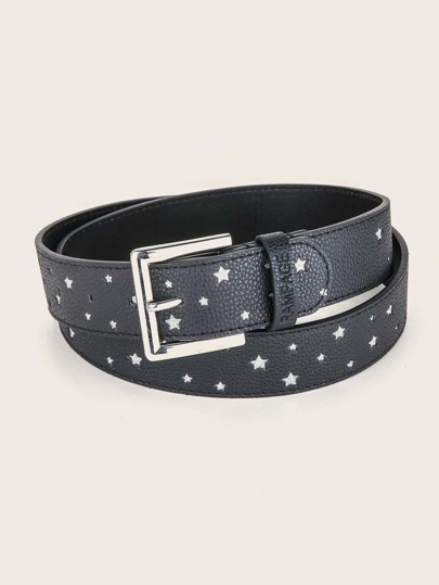 Star Engraved Metal Buckle Belt