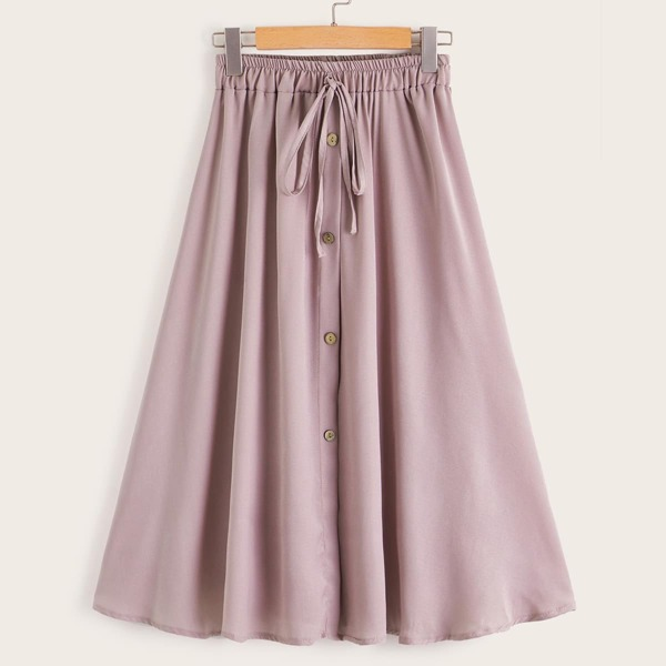 Plus Tie Front Button Through A-line Skirt, Pink