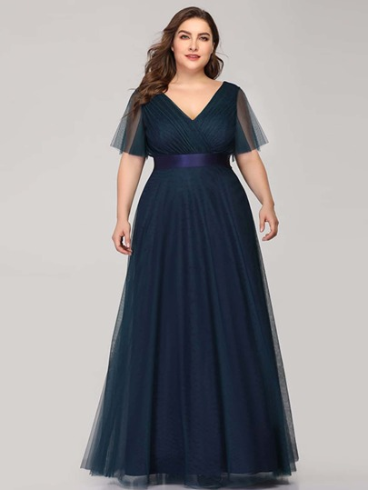 Plus Surplice Plicated Front Mesh Overlay Prom Dress