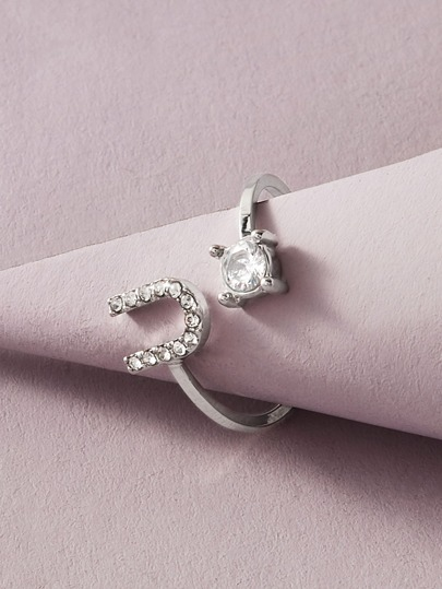 1pc Rhinestone Engraved Letter Decor Ring