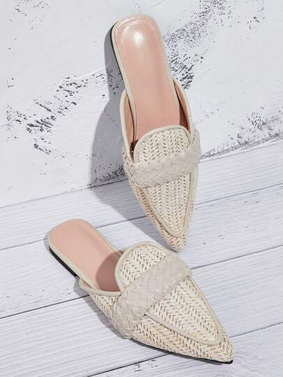 Braided Point Toe Flat Mule