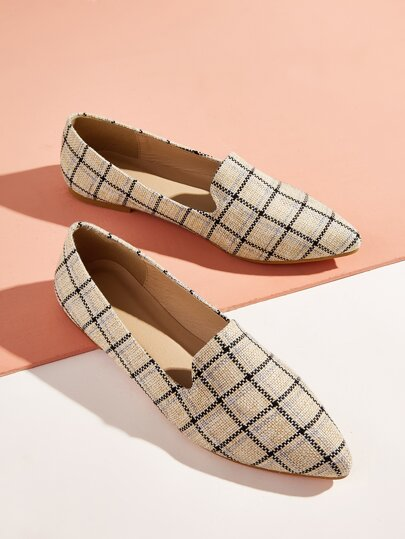 Braided Detail Plaid Loafers