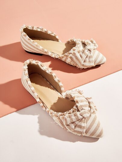 Raw Trim Striped Bow Decor Dorsay Flats