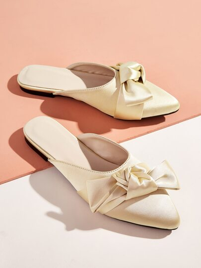 Bow Decor Satin Flat Mules