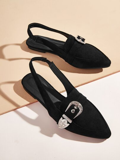 Buckle Decor Slingback Flats