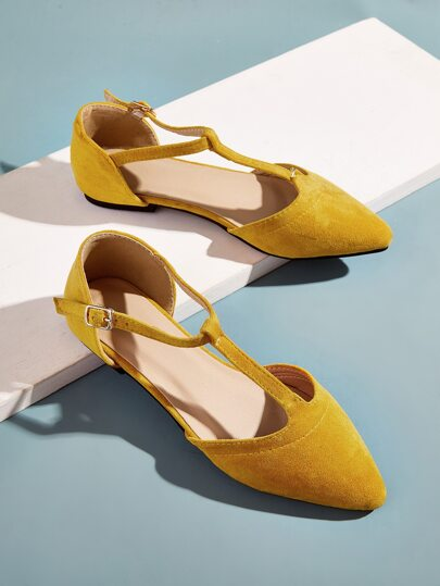 Point Toe T-strap Suede Flats