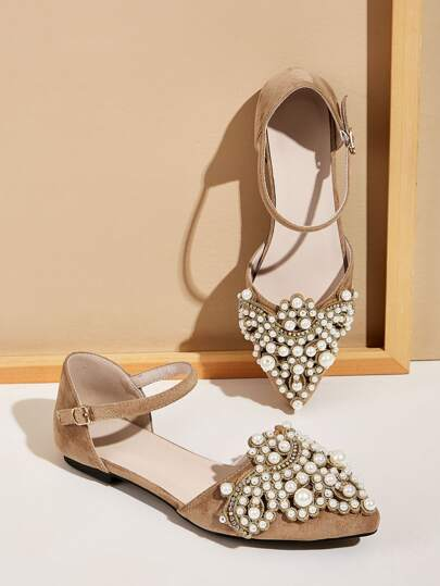 Faux Pearl Decor Buckle Strap Flats
