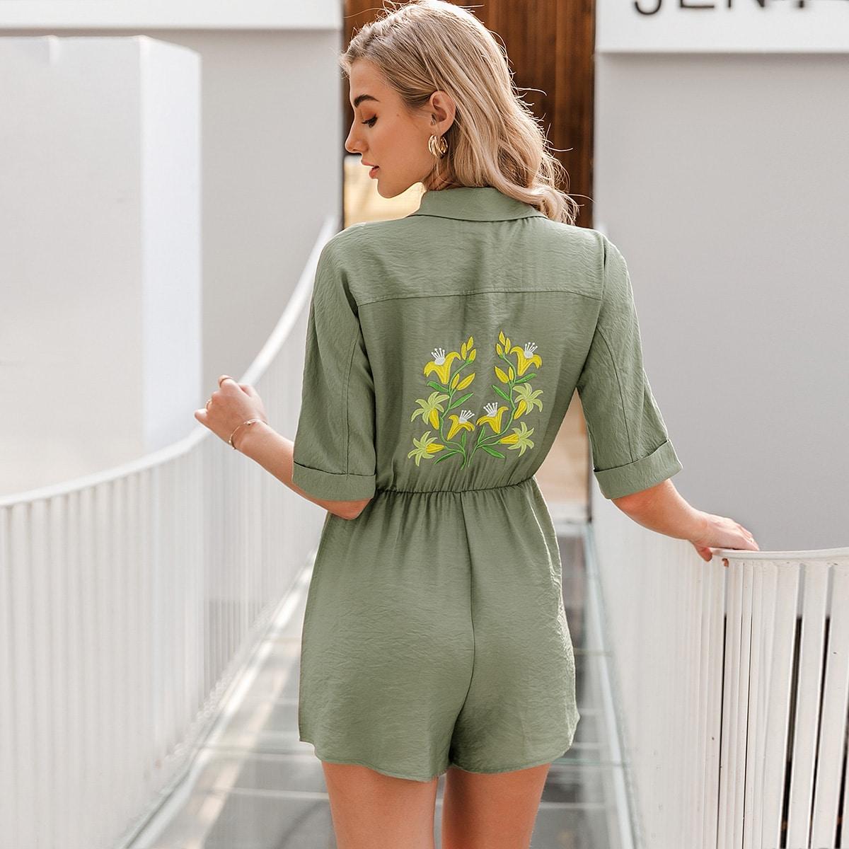 Комбинезон-рубашка с карманом и цветочной вышивкой