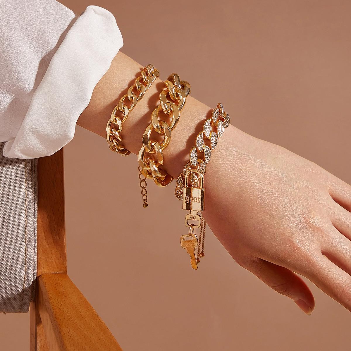 3 Stücke Schloss & Schlüssely Charm Kette Armband
