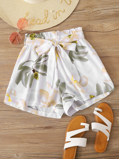 Frill Waist Floral Print Belted Shorts