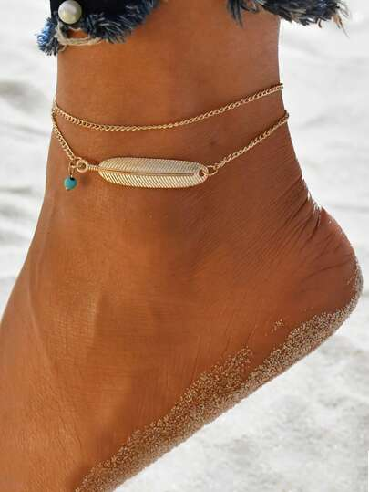 1pc Metal Feather Decor Layered Anklet
