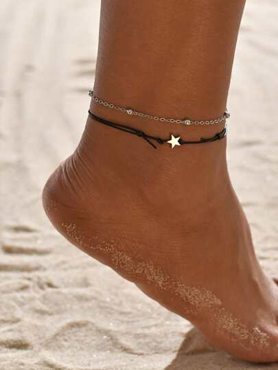 2pcs Star Decor Layered Beaded Anklet