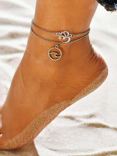 2pcs Round Charm Anklet