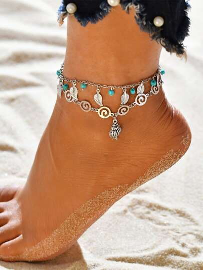 1pc Shell & Leaf Charm Layered Anklet